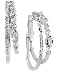EFFY® Diamond Bezel and Claw Double Hoop Earrings (1/2 ct. t.w.) in 14k White Gold