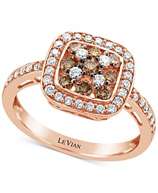 Le Vian Chocolatier® Diamond Statement Ring (5/8 ct. t.w.) in 14k Rose Gold