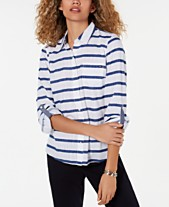 028c5feb6a Tommy Hilfiger Cotton Striped Button-Down Shirt, Created for Macy's