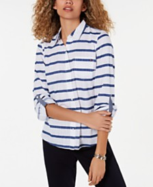 Tommy Hilfiger Cotton Striped Button-Down Shirt, Created for Macy's