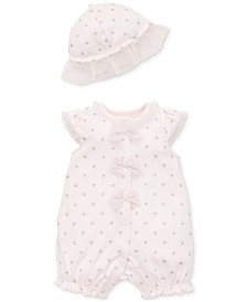 Little Me Baby Girls 2-Pc. Cotton Romper & Hat Set
