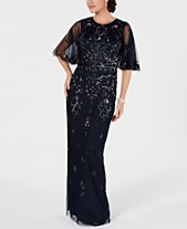 47b80c64887a Adrianna Papell Embellished Illusion-Sleeve Gown