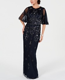 Adrianna Papell Embellished Illusion-Sleeve Gown