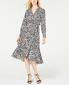 Animal-Print High-Low Wrap Dress