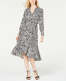 Calvin Klein Animal-Print High-Low Wrap Dress