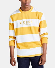 GUESS Men's Logo Graphic Stripe Shirt