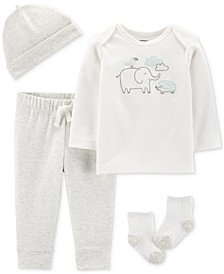 Baby Boys or Girls 4-Pc. Cotton Hat, T-Shirt, Pants & Socks Set