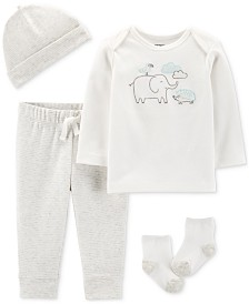 Carter's Baby Boys or Girls 4-Pc. Cotton Hat, T-Shirt, Pants & Socks Set