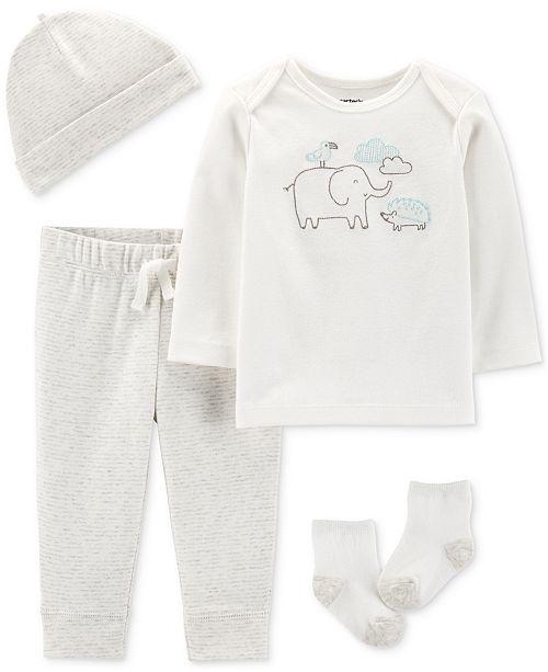 Carter's Baby Boys or Girls 4-Pc. Cotton Hat, T-Shirt, Pants & Socks Set