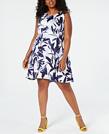 Plus Size Printed Scuba Fit & Flare Dress