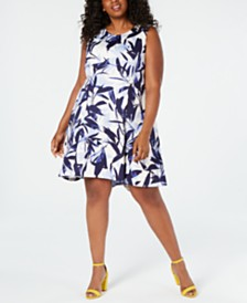 Vince Camuto Plus Size Printed Scuba Fit & Flare Dress
