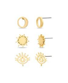 Women's Crescent Moon & Sun Gold-Tone 3 Piece Earring Set