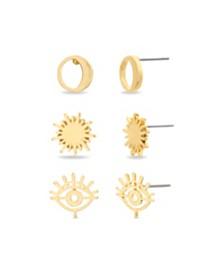 Steve Madden Women's Crescent Moon & Sun Gold-Tone 3 Piece Earring Set