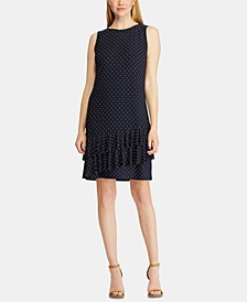 Polka Dot-Print Tiered Ruffle Dress