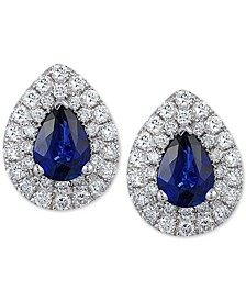 EFFY® Sapphire (1-3/8 ct. t.w.) & Diamond (3/4 ct. t.w.) Stud Earrings in 14k White Gold