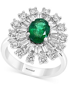 EFFY® Emerald (1-1/8 ct. t.w.) & Diamond (1-1/5 ct. t.w.) Statement Ring in 14k White Gold