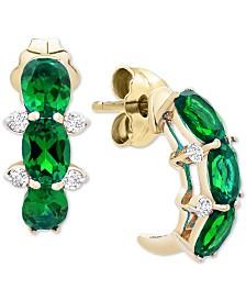 Emerald (1 ct. t.w.) & Diamond Accent Drop Earrings in 14k Gold