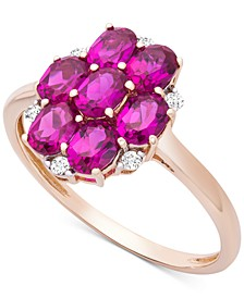 Certified Ruby (1-3/4 ct. t.w.) & Diamond Accent Cluster Ring in 14k Gold
