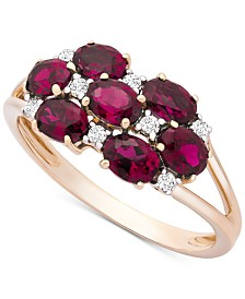 Certified Ruby (1-3/4 ct. t.w.) & Diamond (1/10 ct. t.w.) Cluster Ring in 14k Gold