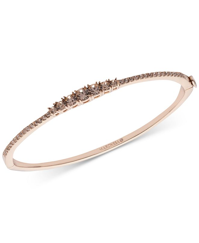 Marchesa Rose Gold-Tone Stone & Crystal Hinged Bangle Bracelet