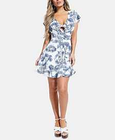 GUESS Idalia Printed Button-Front Dress