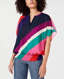 Trina Turk Unforgettable Striped Banded-Hem Top