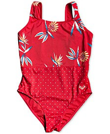 Big Girls Mixed Print One-Piece Swimsuit