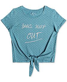Roxy Big Girls Tie-Front Graphic Dot-Print Cotton T-Shirt