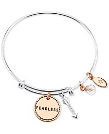 "Unwritten Crystal Arrow & ""Fearless"" Charm Bangle Bracelet in Silver-Plate Stainless Steel and Rose Gold-Tone"