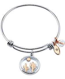 Crystal Dessert Scene Charm Bangle Bracelet in Stainless Steel & Rose Gold-Tone