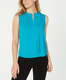 Calvin Klein Petite Pleat-Front Top
