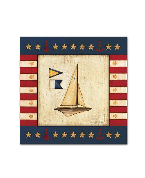 "Trademark Global Stephanie Marrott 'Yellow Sail Boat' Canvas Art - 14"" x 14"""