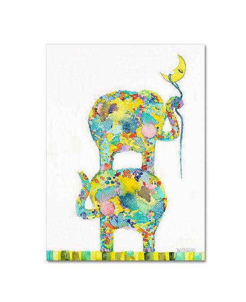 """Trademark Global Wyanne 'Lasso The Moon Elephants' Canvas Art - 14"""" x 19"""""""