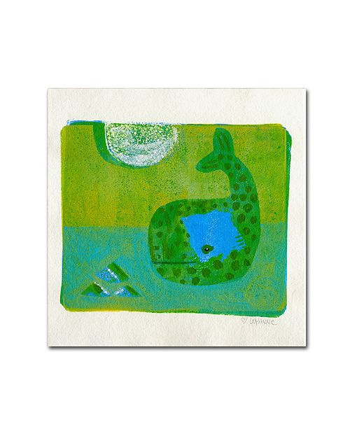 "Trademark Global Wyanne 'Green Whale Monoprint' Canvas Art - 14"" x 14"""