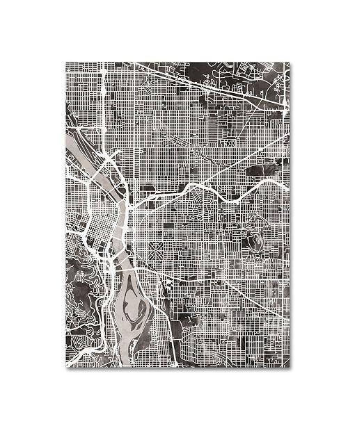"Trademark Global Michael Tompsett 'Portland Oregon Street Map IV' Canvas Art - 14"" x 19"""