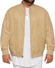 Men's Big & Tall MVP Collections Perforated Suede Bomber Jacket