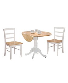 "International Concepts 42"" Dual Drop Leaf Table With 2 Madrid Chairs"