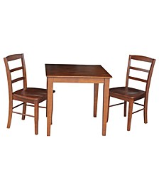30X30 Dining Table With 2 Ladderback Chairs