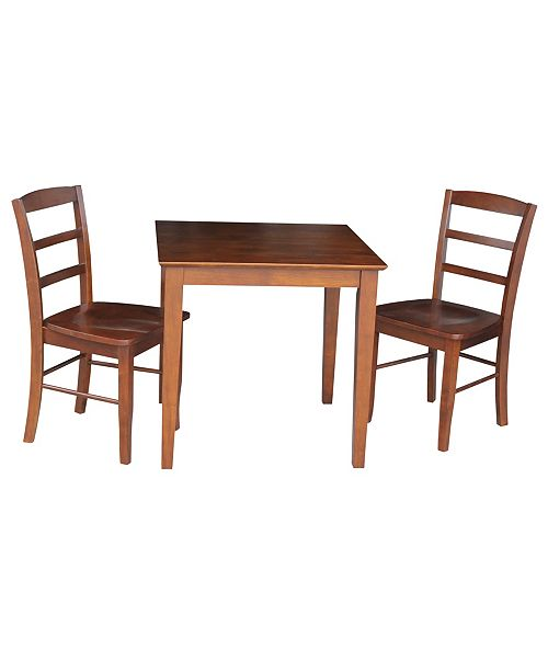 WHITEWOOD INDUSTRIES/INTNL CONCEPTS International Concepts 30X30 Dining Table With 2 Ladderback Chairs