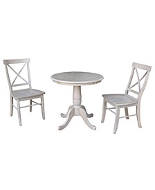"""30"""" Round Top Pedestal Table- With 2 X-Back Chairs"""