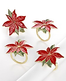 Set of 4 Poinsettia Napkin Rings