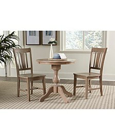 "30"" Round Top Pedestal Table- With 2 San Remo Chairs"