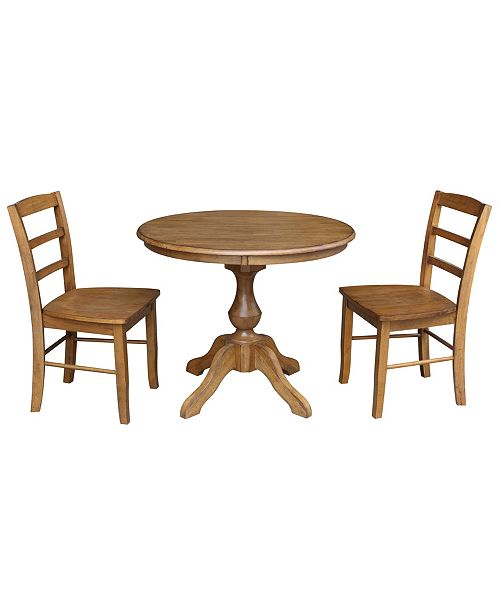 """WHITEWOOD INDUSTRIES/INTNL CONCEPTS International Concepts 36"""" Round Top Pedestal Table - With 2 Chairs"""