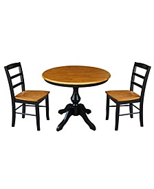 """36"""" Round Top Pedestal Table - With 2 Madrid Chairs"""
