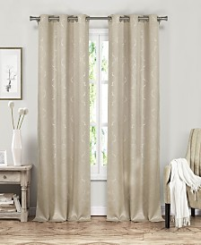 "Stephanie 37"" x 84"" Metallic Print Blackout Curtain Set"