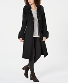 French Connection Belted Faux-Fur-Trim Coat