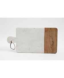 White Marble & Wood Serving Board