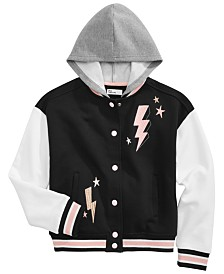 Epic Threads Little Girls Hooded Varsity Jacket, Created for Macy's