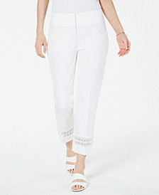 Petite Cropped Lace-Inset Pants, Created For Macy's