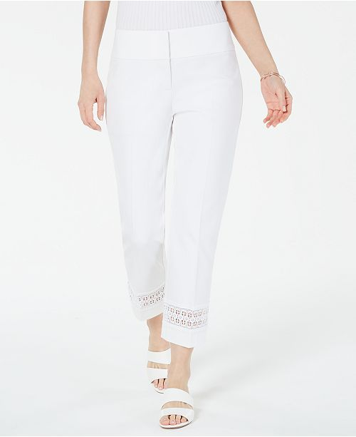 Alfani Petite Cropped Lace-Inset Pants, Created For Macy's
